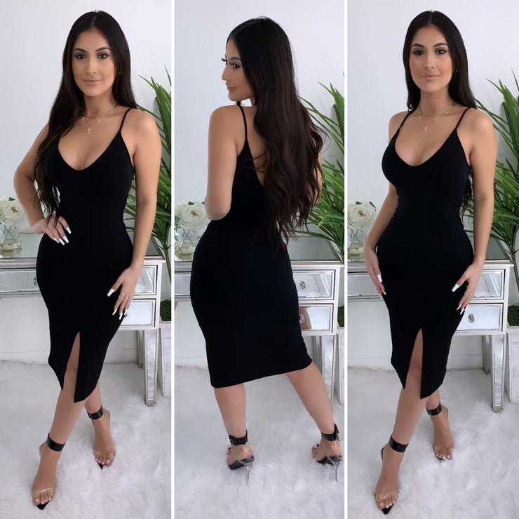 There's No Going Back Midi Dress (Black)