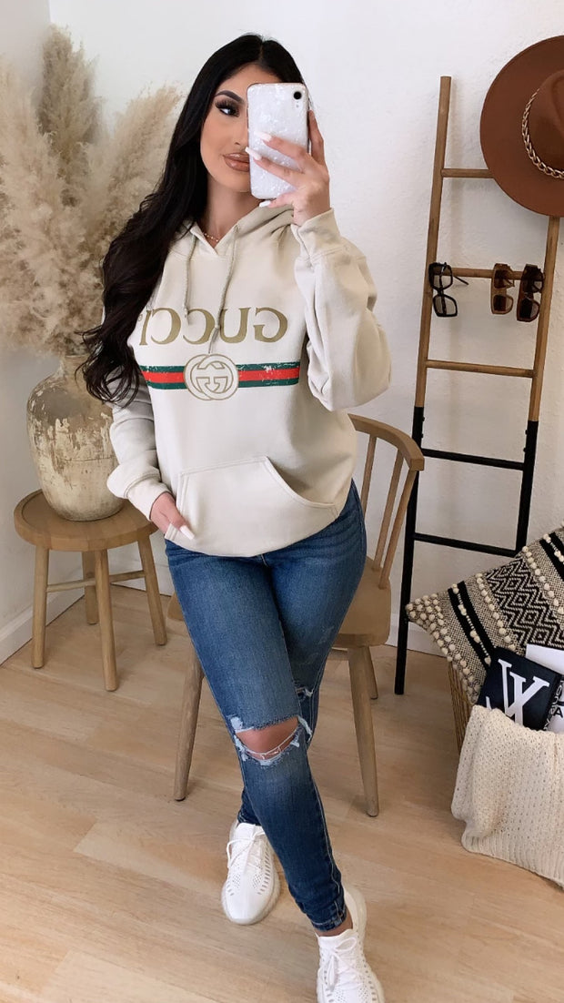 Gucci Over Size Hooded Solid Sweater (Cream)