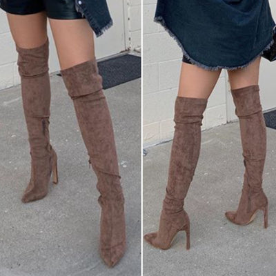 Lavish Over The Knee Suede Boots (Taupe)
