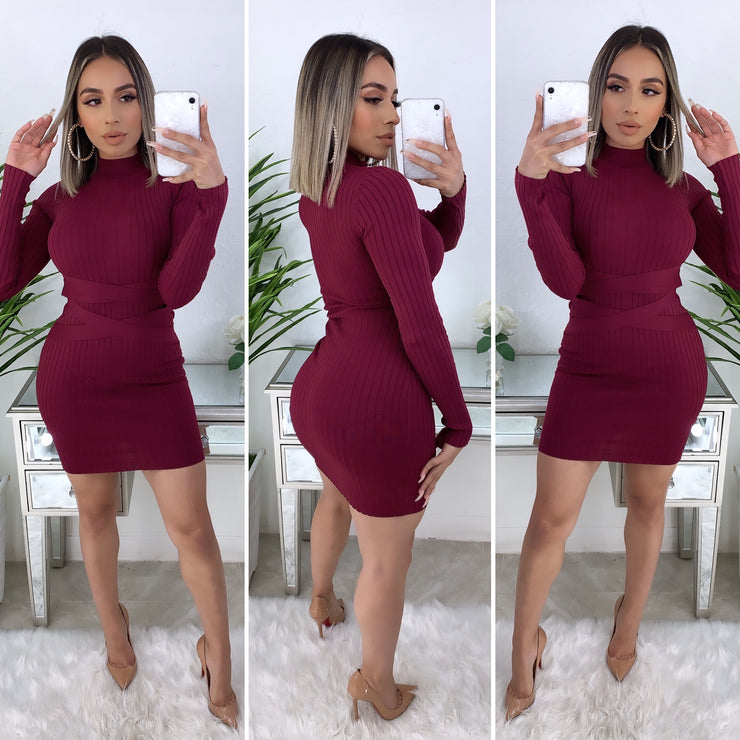 Down For You Couture Dress (Burgundy)