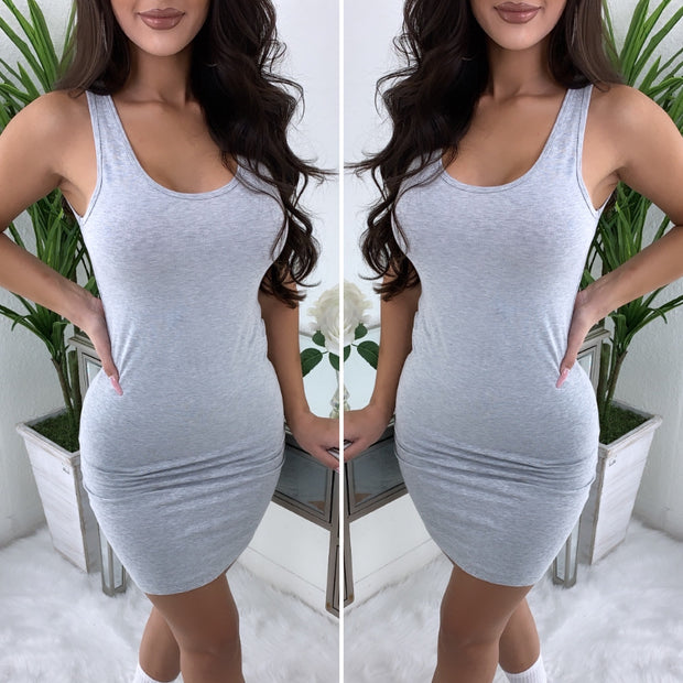 Just Say It Tank Dress (Heather Grey)