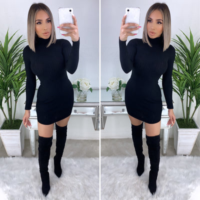 On A Break Turtleneck Dress (Black)