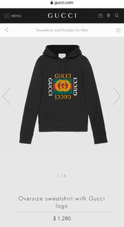 Gucci New Square Logo Over Size Hooded Sweater (Black)