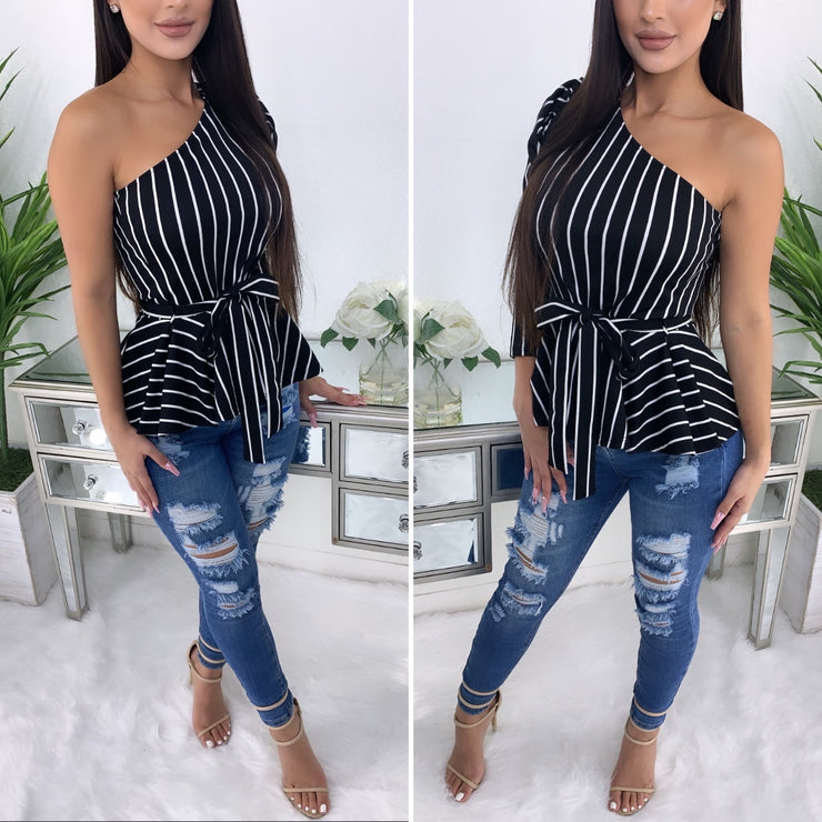 Out On Brunch One Sided Peplum Top (Black/Stripe)