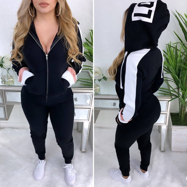 LOVE Me 2PC Sweat Suit (Black)