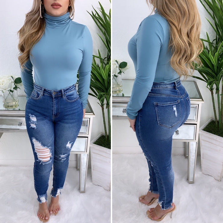 Moments Like This Turtleneck Top (Dusty Blue)
