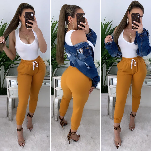 Verified High Waist Joggers (Mustard)