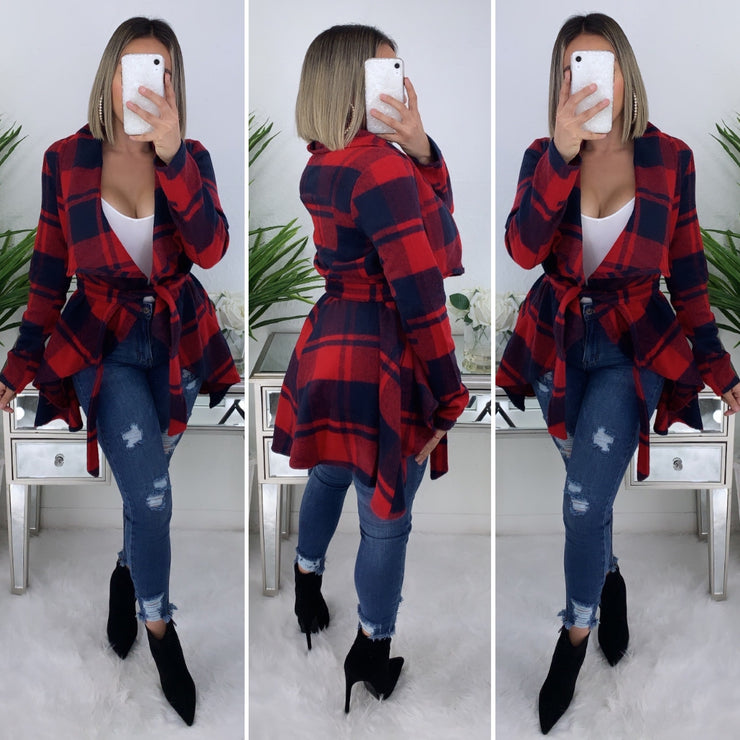 Make No Promises Wrap Flannel Coat (Red)