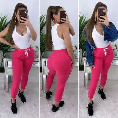 Verified High Waist Joggers (Fushia)
