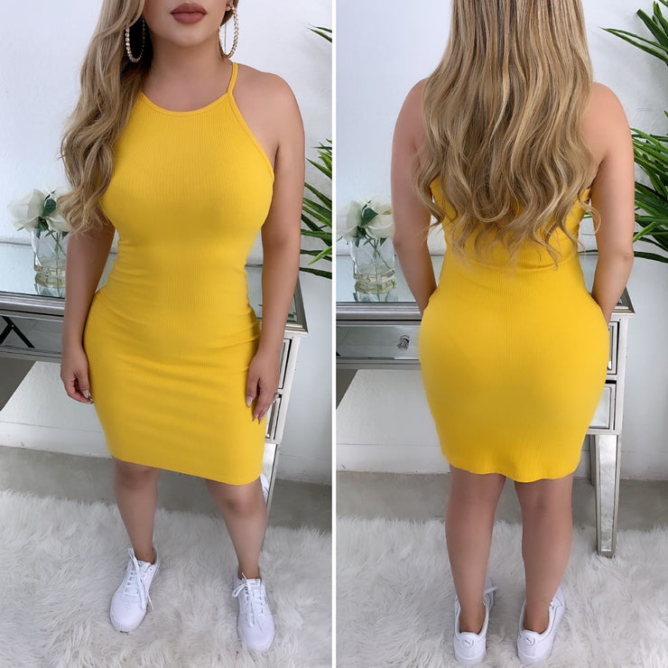 Out Of Bounce Tank Dress (Mustard)