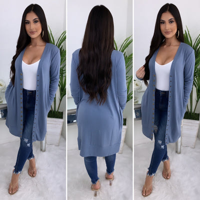 All Year Long Button Up Cardigan (Denim Blue)