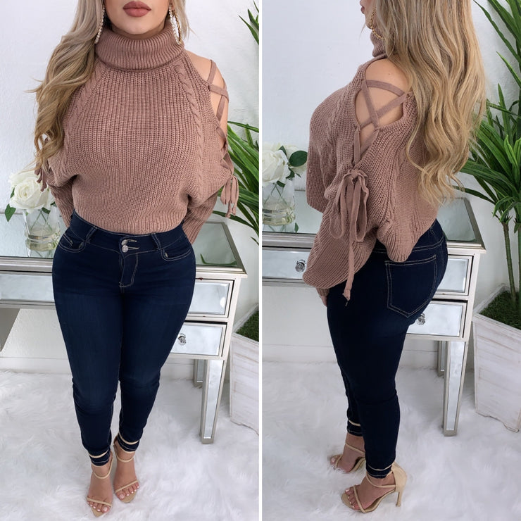 Never Tamed Turtleneck Sweater Top (Rosewood Pink)