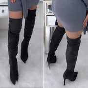 Fall Over The Knee Suede Boots (Grey)
