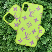 LV Designer IPhone Case (Green/Purple)