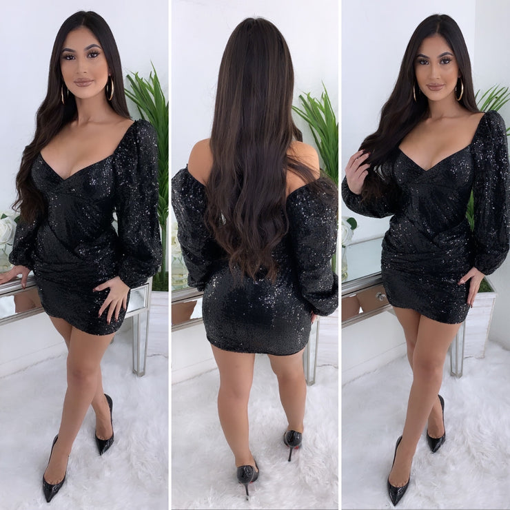 The Boss Babe Sequence Dress (Black)