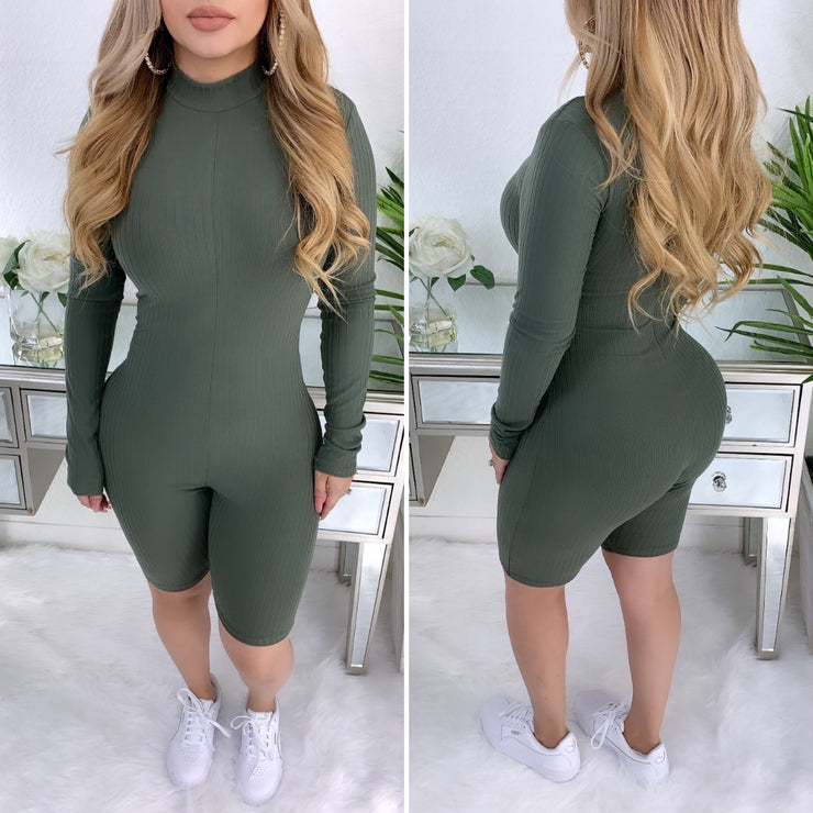 Love Game Romper (Olive)