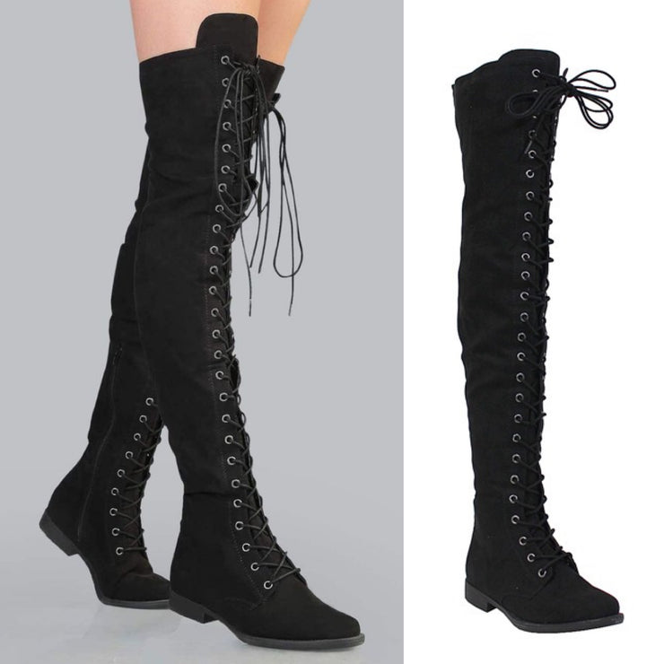 Brooklyn Over The Knee Lace Up Suede Boots (Black)
