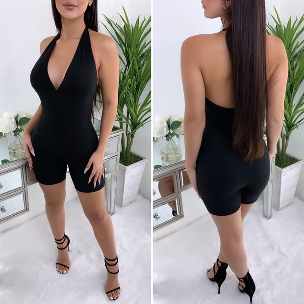 Distracted Ribbed Halter Romper (Black)