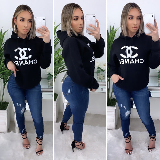 Chanel Over Size Hooded Sweater (Black)