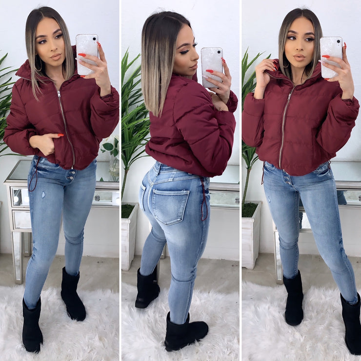 Getting Warmer Bomber Jacket (Burgundy)