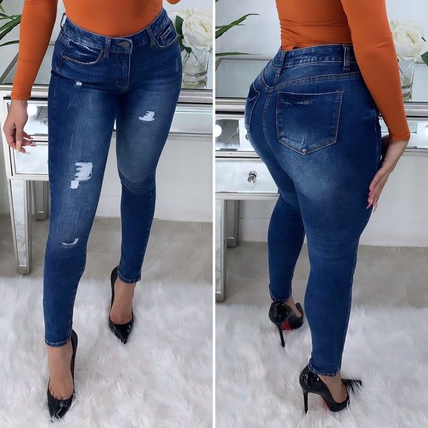 Noelle High Rise Skinny Jeans (Dark Denim)