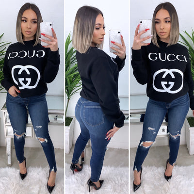Gucci GG Interlock Crew Neck Sweater (Black)