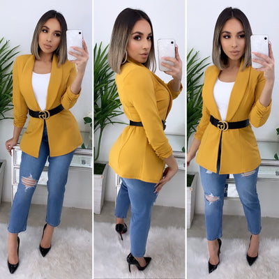 Business Talk Boyfriend Blazer (Yellow Mustard)