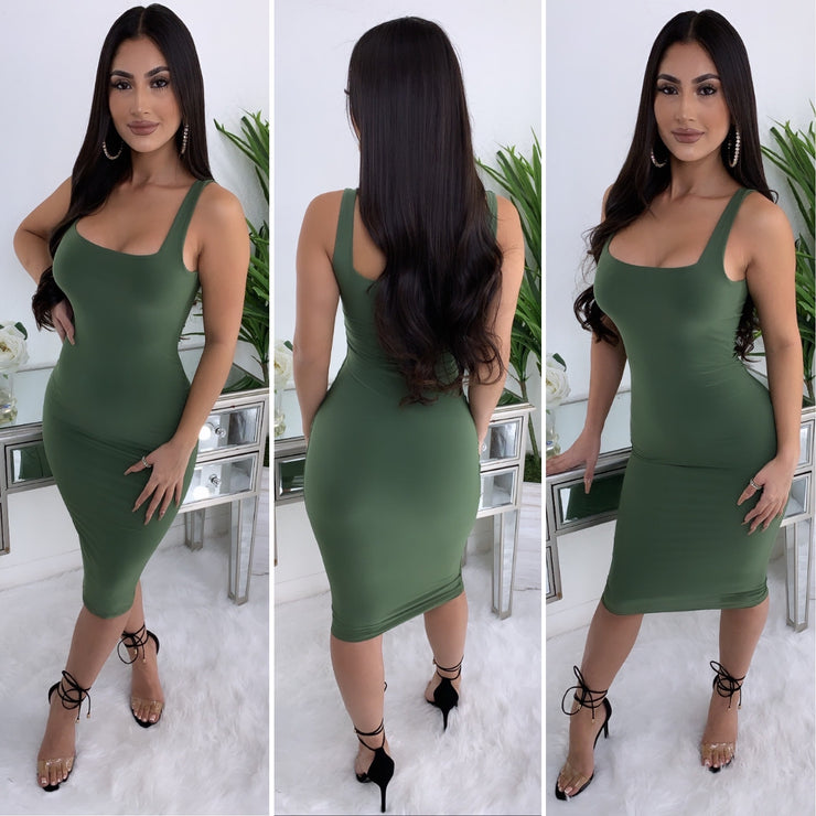 Fitted In All The Right Places Midi Dress (Olive)