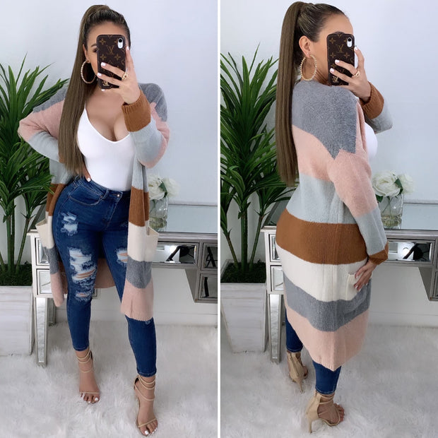 Fall In Love With Fall Cardigan (Grey/Pink)