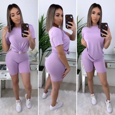 Essential Attire Biker Short Set (Lilac)