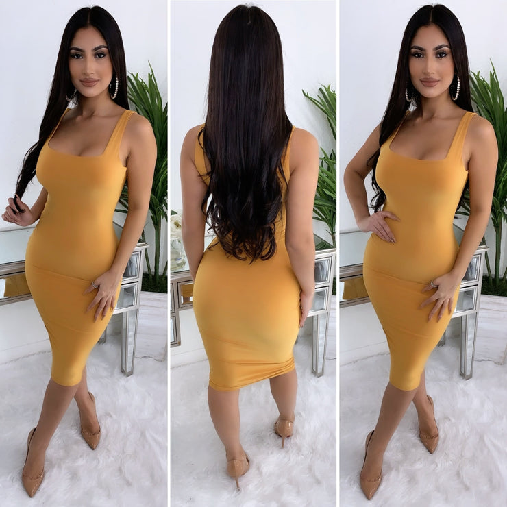 Fitted In All The Right Places Midi Dress (Mustard)