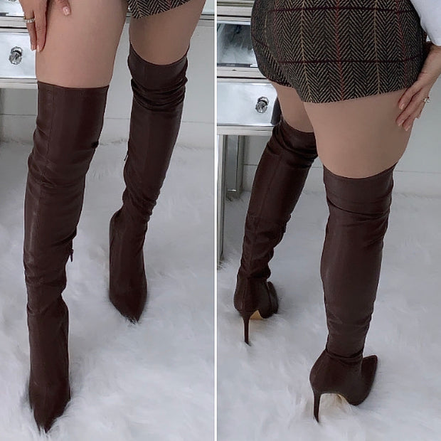 Fall Over The Knee Faux Leather Boots (Brown)
