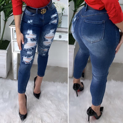 Expose You Vintage High Waist Jeans (Dark Wash)