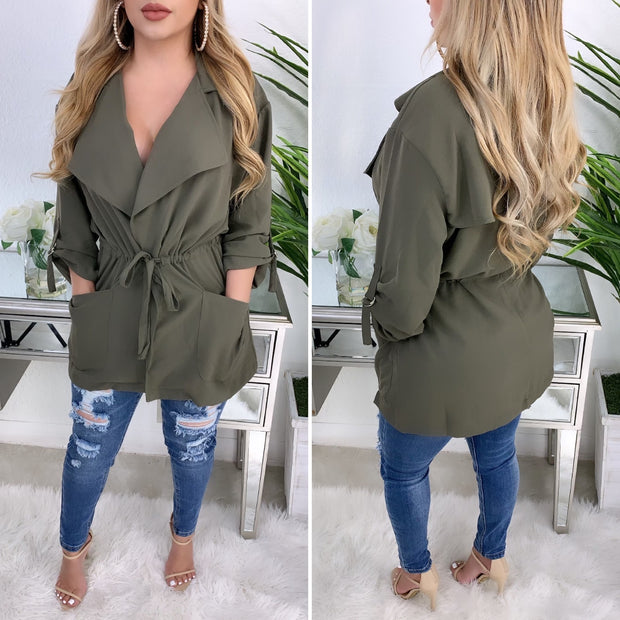 Tell Me What You Want Light Weight Coat (Olive)