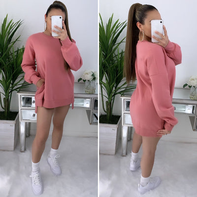 Out All Day Oversize Sweater (Dusty Pink)