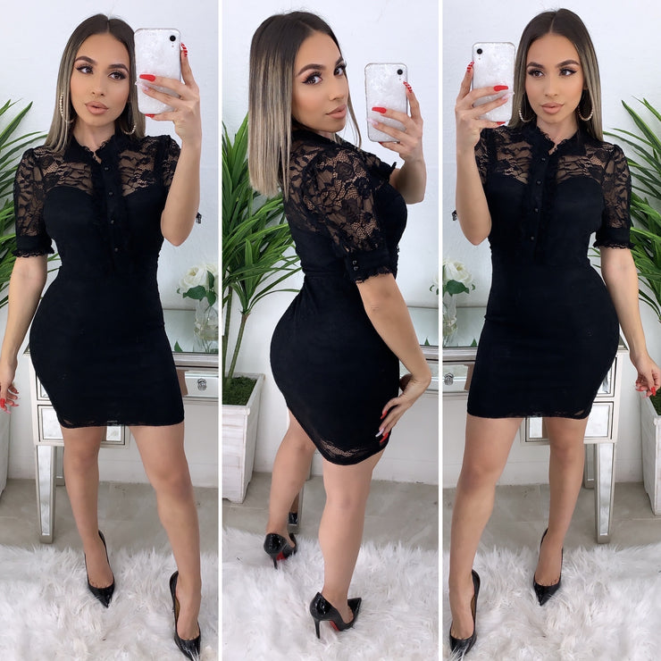 Trixie Lace Dress (Black)