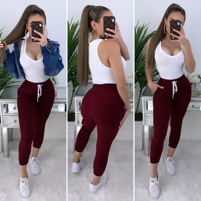 Verified High Waist Joggers (Burgundy)