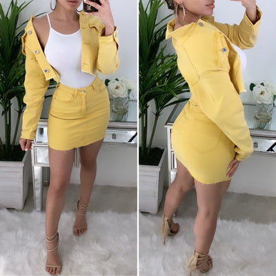 Down For You 2PC Denim Set (Mustard)