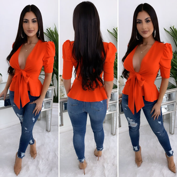 Late Night Couture Top (Red Orange)