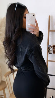 Button Up Denim Jacket (Black Wash)