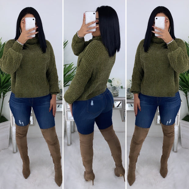 Wanderlust Pull Over Sweater (Olive)