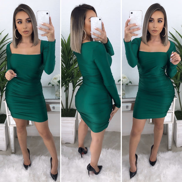 Lavish Scrunched Dress (Emerald Green)