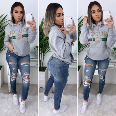 Gucci Over Size Hooded Sweater (Heather Grey)