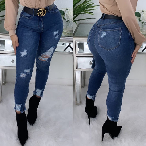 Tommy High Waist Jeans (Dark Wash)