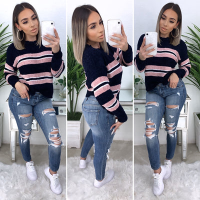 Always Getting Better Stripe Sweater (Navy/Pink)