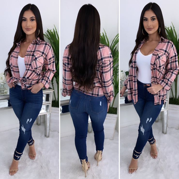 Always In Check Flannel Top (Blush)