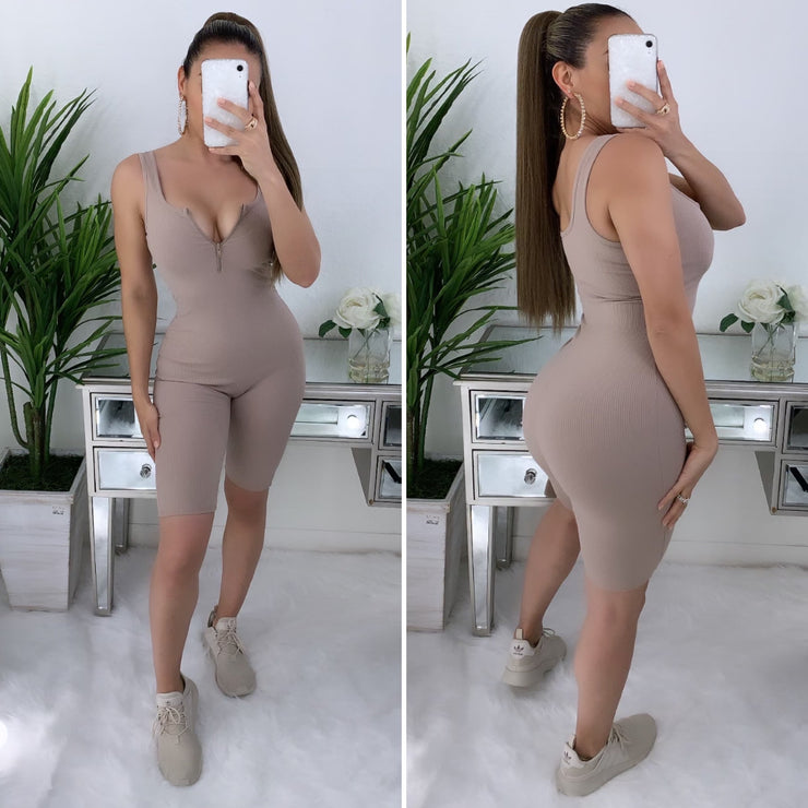 Killing 'Em Softly Thick Ribbed Romper (Tan)