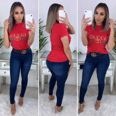 "Designer Inspired ""GUCCI"" Top (Red)"