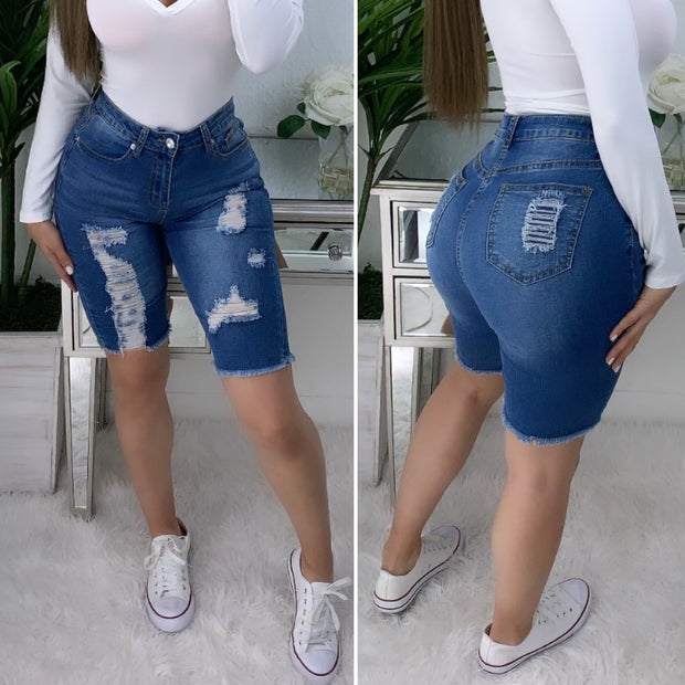 Look My Way High Waist Bermuda Shorts (Medium Denim)