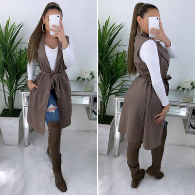 Elisa Couture Suede Vest (Taupe)